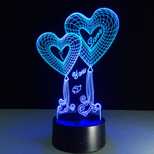 Valentine's Day Double Heart 3D Optical Illusion Lamp - 3D Optical Lamp