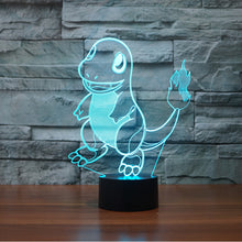 Pokemon Inspired Charmander 3D Optical Illusion Lamp - 3D Optical Lamp