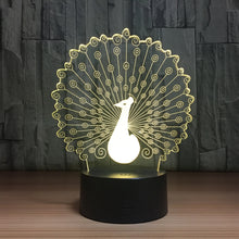 Peacock 3D Optical Illusion Lamp - 3D Optical Lamp