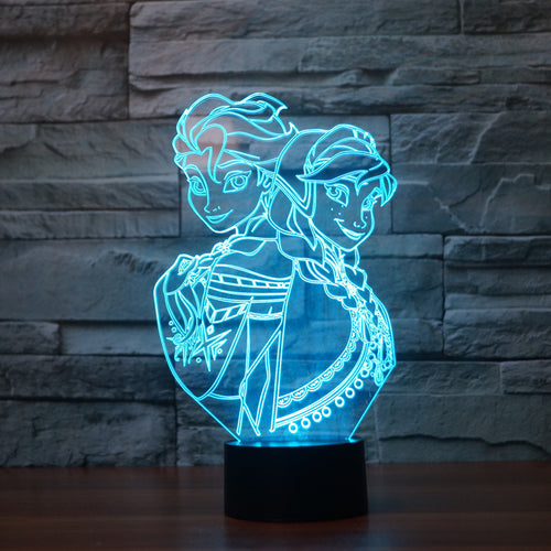 Frozen Inspired 3D Optical Illusion Lamp - 3D Optical Lamp
