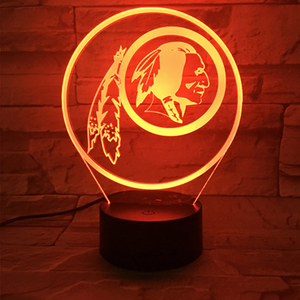 Washington Redskins 3D Stereo Vision Lamp - 3D Optical Lamp
