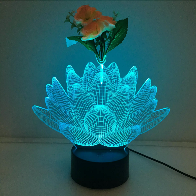 Lotus 3d Vase Flower Arrangement Stereo Lamp 3d Optical Lamp