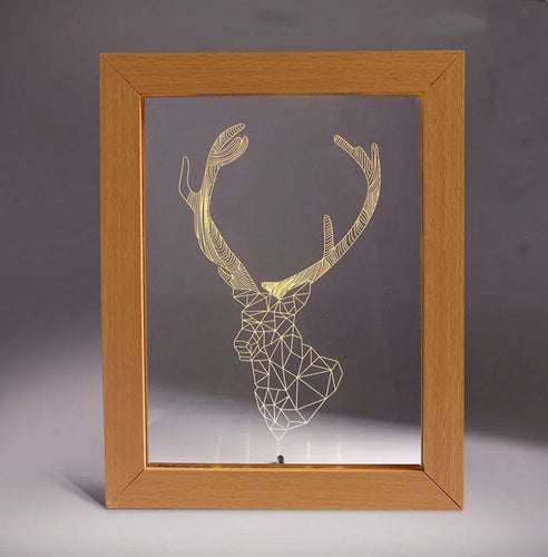 Solid Wood 3D Bedside  Photo Frame Lamp-Fawn - 3D Optical Lamp
