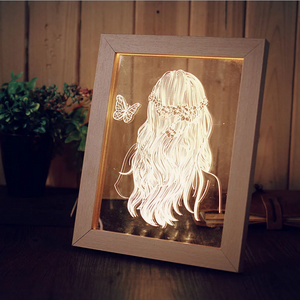 Solid Wood 3D Bedside  Photo Frame Lamp-Figure - 3D Optical Lamp