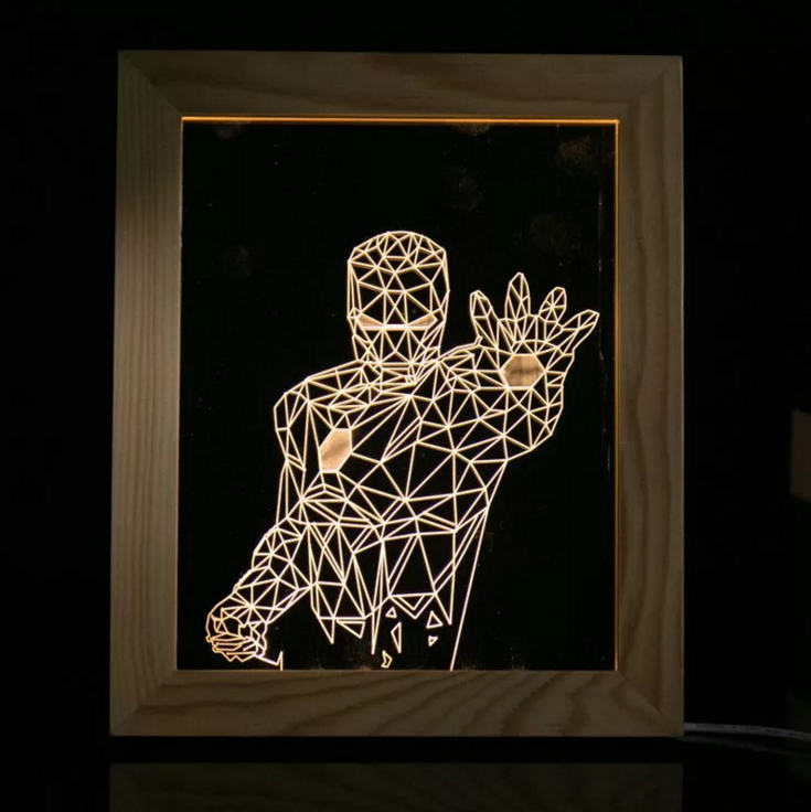 Solid Wood 3D Bedside  Photo Frame Lamp-Iron Man - 3D Optical Lamp