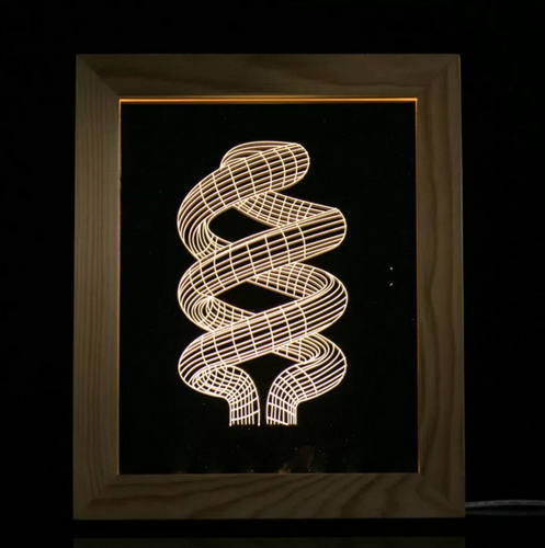 Solid Wood 3D Bedside  Photo Frame Lamp-Spiral - 3D Optical Lamp