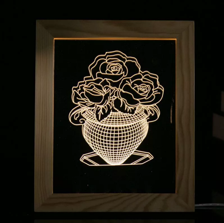 Solid Wood 3D Bedside  Photo Frame Lamp-Rose Vase - 3D Optical Lamp