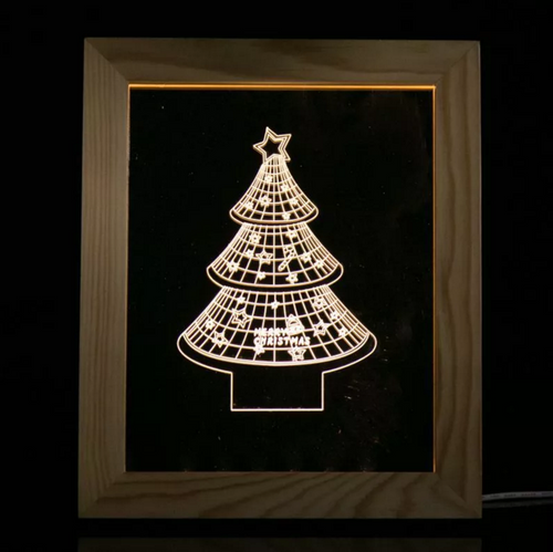 Solid Wood 3D Bedside  Photo Frame Lamp-Christmas Tree - 3D Optical Lamp