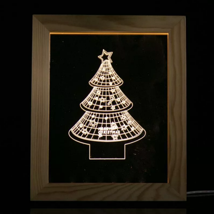 Solid Wood 3D Bedside Photo Frame Lamp Christmas Tree Optical