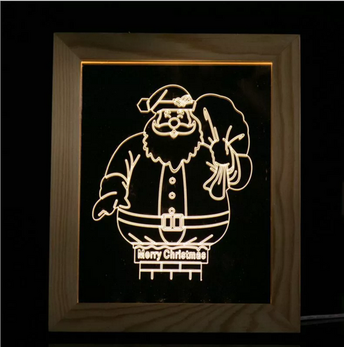 Solid Wood 3D Bedside  Photo Frame Lamp-Santa Claus - 3D Optical Lamp