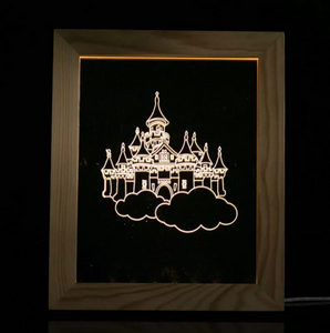 Solid Wood 3D Bedside  Photo Frame Lamp-City of Sky - 3D Optical Lamp