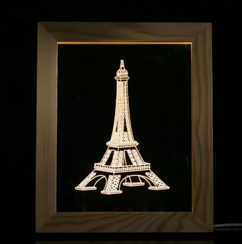 Solid Wood 3D Bedside  Photo Frame Lamp-Iron Tower - 3D Optical Lamp