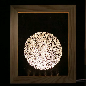 Solid Wood 3D Bedside  Photo Frame Lamp-Phoenix Ball - 3D Optical Lamp