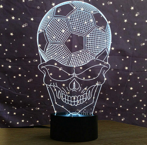 Football Skull 3D Nightlight Creative Vision Lamp - 3D Optical Lamp
