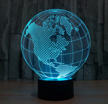 America Europe Globe 3D Colorful Gradient Nightlight - 3D Optical Lamp