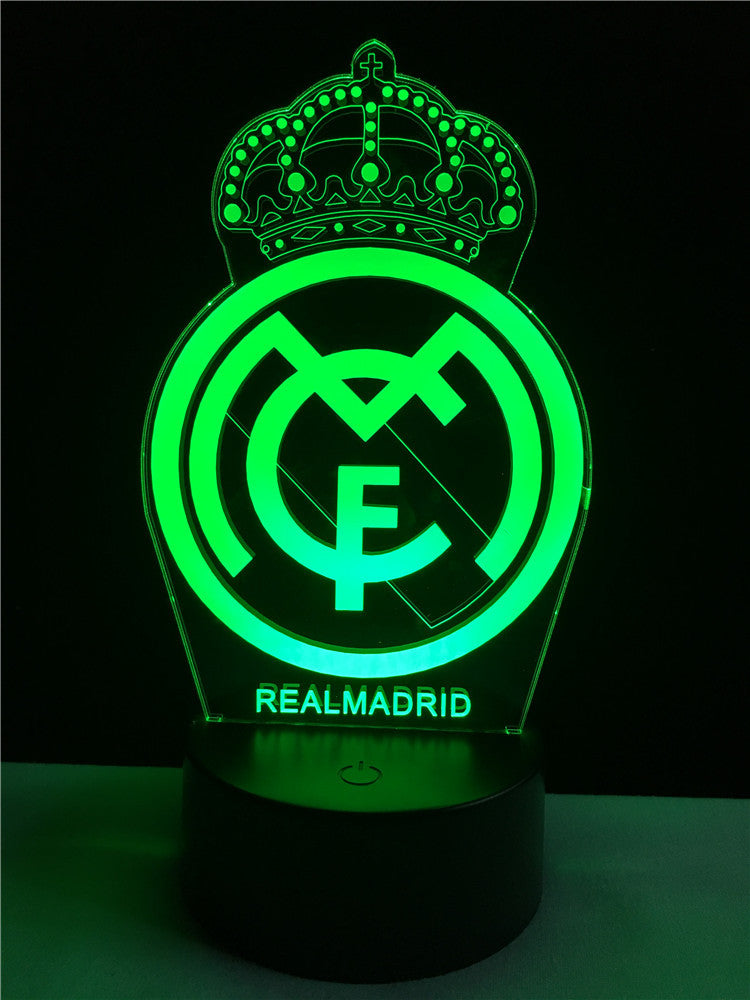 Real Madrid Logo Logo Touch 3d Colorful Nightlight Lamp 3d Optical
