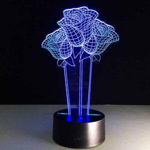 Rose Flower 3D Optical Illusion Lamp - 3D Optical Lamp