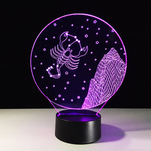 Scorpio Horoscope 3D Optical Illusion Lamp - 3D Optical Lamp