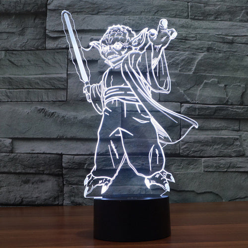Star Wars Inspired Posing Yoda 3D Optical Illusion Lamp - 3D Optical Lamp