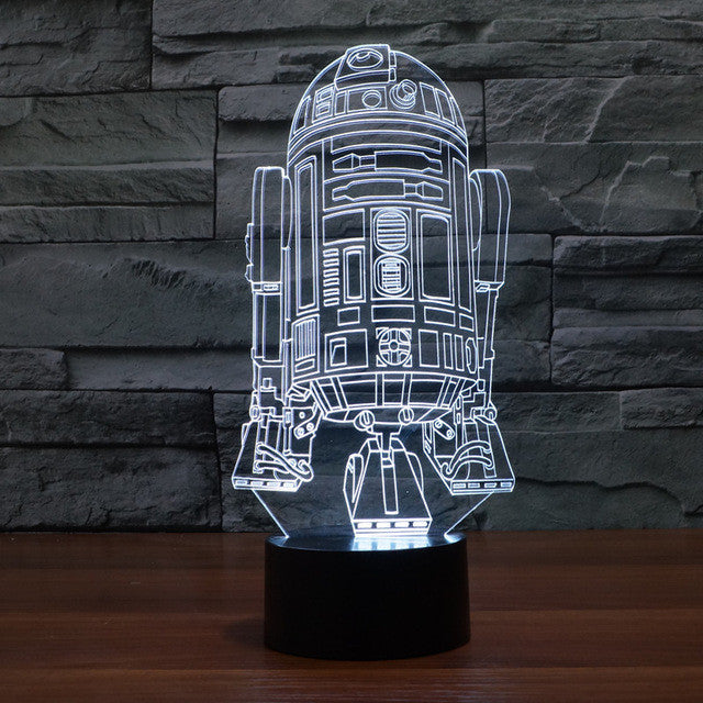 Star Wars Inspired R2-D2 3D Optical Illusion Lamp