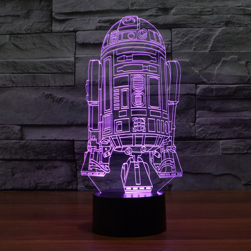 ... Star Wars Inspired R2 D2 3D Optical Illusion Lamp ...