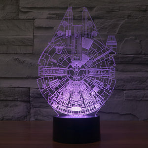 Star Wars Inspired Millennium Falcon 3D Optical Illusion Lamp - 3D Optical Lamp