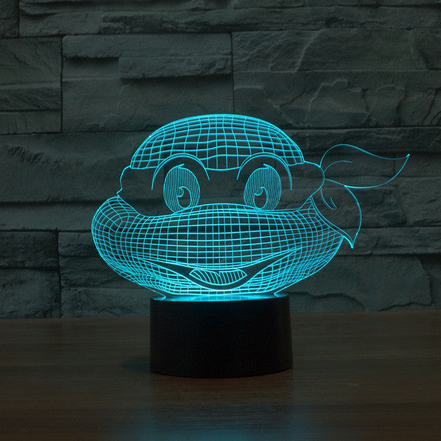 Teenage Mutant Ninja Turtles Inspired Turtle Head Bust 3D Optical Illusion Lamp - 3D Optical Lamp