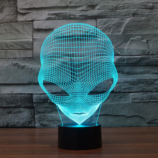 Realistic Martian Man Alien Head Bust 3D Optical Illusion Lamp - 3D Optical Lamp