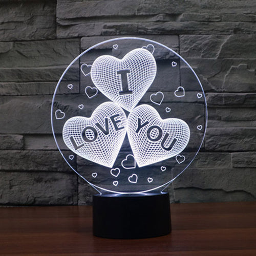 I LOVE YOU 3D Optical Illusion Lamp - 3D Optical Lamp