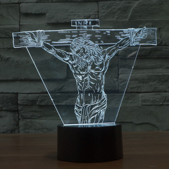 Jesus On The Cross 3D Optical Illusion Lamp - 3D Optical Lamp