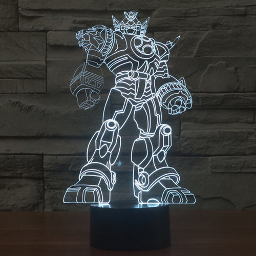 Might Morphin' Power Rangers Inspired Zord 3D Optical Illusion Lamp - 3D Optical Lamp