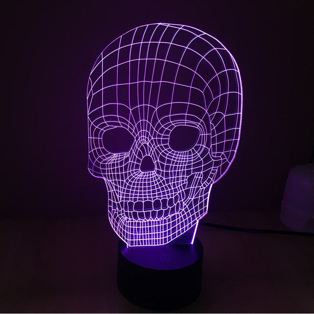 Creepy Realistic Skull 3D Optical Illusion Lamp - 3D Optical Lamp