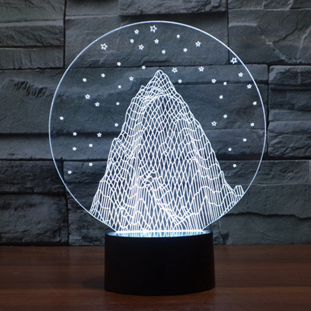 Snowy Mountain 3D Optical Illusion Lamp - 3D Optical Lamp