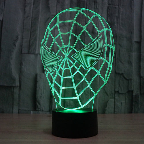 Marvel Inspired Spiderman Head Bust 3D Optical Illusion Lamp - 3D Optical Lamp