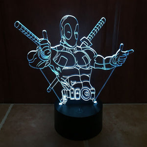 Marvel Inspired Posing Deadpool 3D Optical Illusion Lamp - 3D Optical Lamp