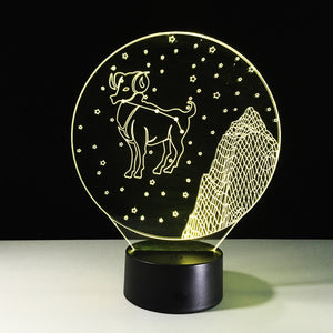 Aries Horoscope 3D Optical Illusion Lamp - 3D Optical Lamp
