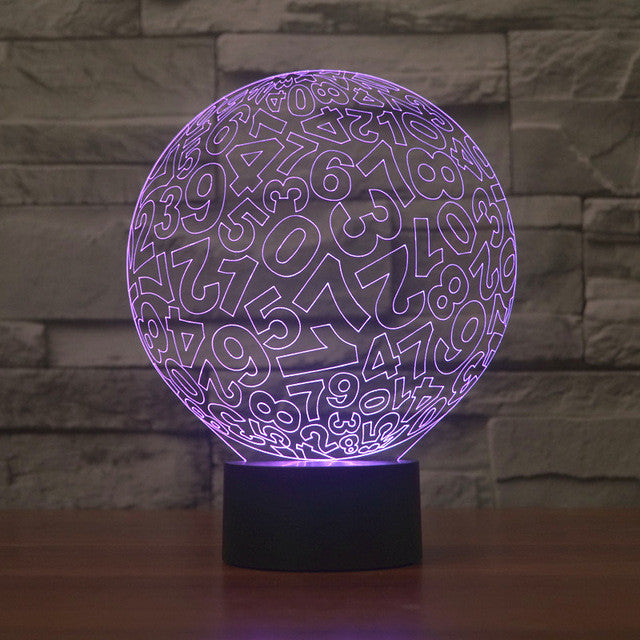 Abstract Numbers Ball 3D Optical Illusion Lamp - 3D Optical Lamp
