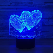 Double Hearts 3D Optical Illusion Lamp - 3D Optical Lamp