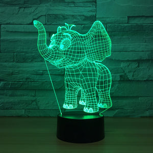 Cute Elephant 3D Optical Illusion Lamp - 3D Optical Lamp