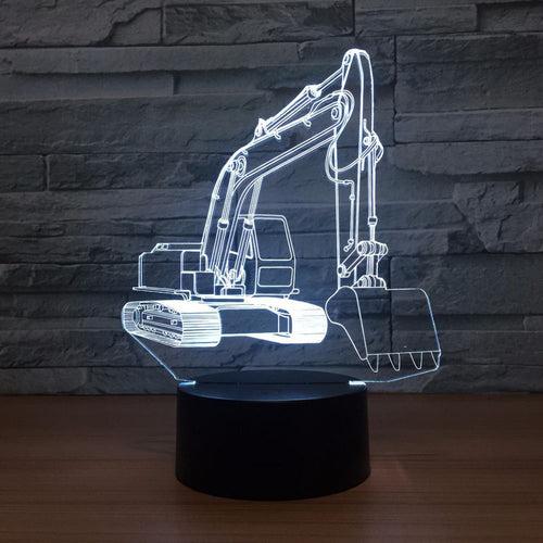 Excavator 3D Optical Illusion Lamp - 3D Optical Lamp