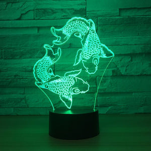 Adorable Fishes 3D Optical Illusion Lamp - 3D Optical Lamp