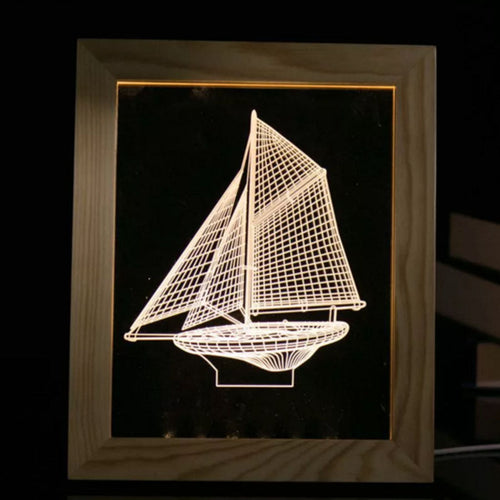 Solid Wood 3D Bedside  Photo Frame Lamp-Sailing - 3D Optical Lamp