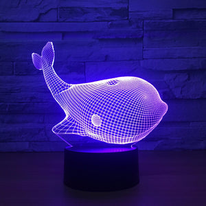 Adorable Whale 3D Optical Illusion Lamp - 3D Optical Lamp