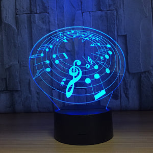 Sheet Music 3D Optical Illusion Lamp - 3D Optical Lamp