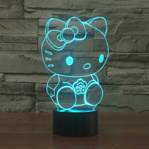 Adorable Sitting Hello Kitty 3D Optical Illusion Lamp - 3D Optical Lamp