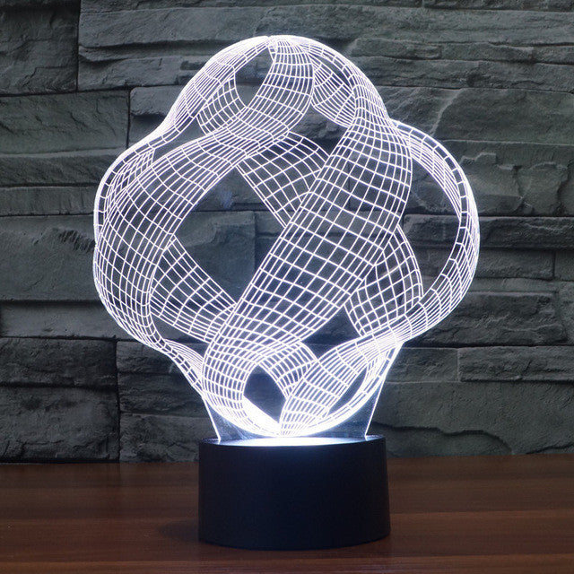 Abstract Crisscrossing Ribbon 3D Optical Illusion Lamp - 3D Optical Lamp