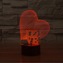 Heart Love Sculpture 3D Optical Illusion Lamp - 3D Optical Lamp