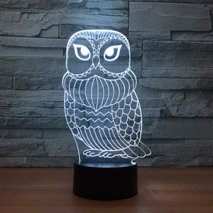 Adorable Owl 3D Optical Illusion Lamp - 3D Optical Lamp
