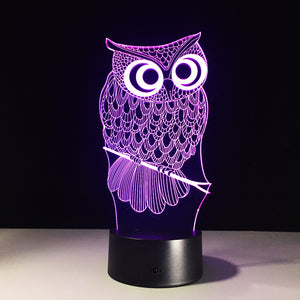 Owl 3D Optical Illusion Lamp - 3D Optical Lamp