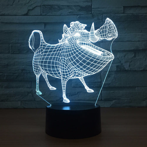 Cartoon Pig 3D Optical Illusion Lamp - 3D Optical Lamp